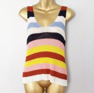 Forever multicolor stripe tank top size large